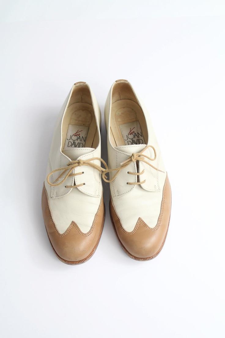 sz 6.5 vintage leather oxfords / vintage Joan & David spectator shoes / summer brogues / 37. $65.00, via Etsy.