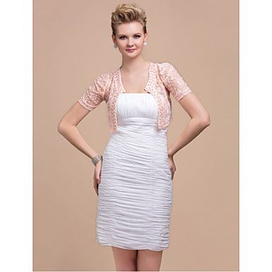 Short Sleeve Lace Jacket With Beaded Trim (More Colors) – CAD $ 21.92