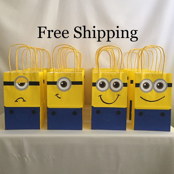 12 Minions Party Bags Goody Loot Totes by PalletTownWorkshop on Etsy https://www.etsy.com/listing/533805269/12-minions-party-bags-goody-loot-totes