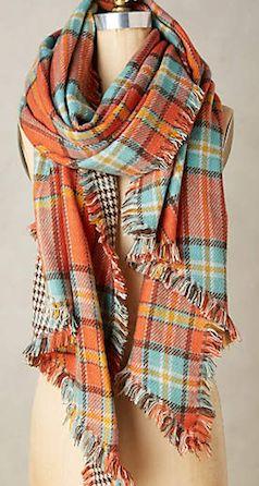 Plaid orange and blue scarf