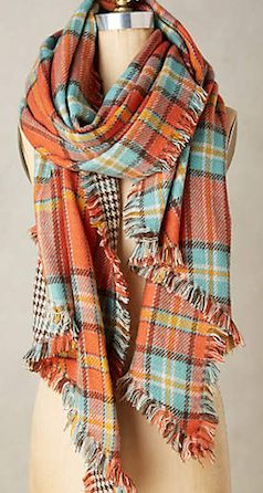 Plaid orange and blue scarf