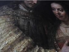 """Rembrandt's """"The Jewish Bride,"""" Reproduced To the naked eye this looks like an exact copy of Rembrandt's famous painting, however this has been 3D printed in order to capture the ridges and cracks of the original."""
