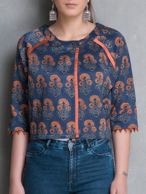 Navy Blue-Rust Ajrakh Printed Natural Dyed Mashru Throw Over Top by Poochki