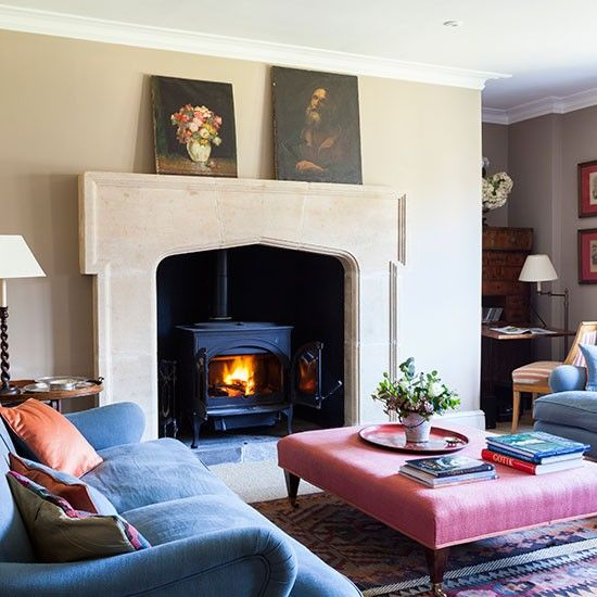 Country Sitting Room With Stone Fireplace A Large Welcoming Creates Cosy Living That Becomes The Focus And Heart Of Home