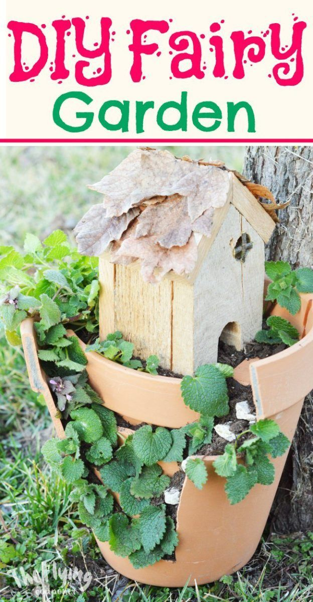 DIY Easy Fairy Garden. How to make a fairy garden with a house using a pot, plants, and accessories. Outdoor and indoor fairy garden ideas in a pot. Fun activity for the kids. The Flying Couponer.