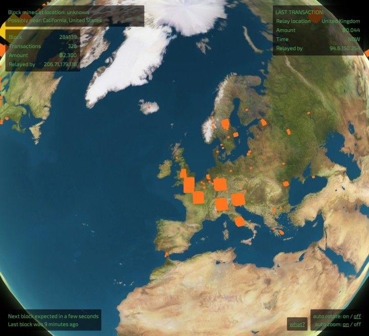 This virtual globe shows (almost) every Bitcoin transaction and freshly minted block in real-time | The Next Web