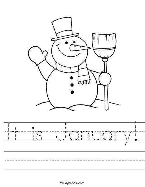 It is January Worksheet   Twisty Noodle   Christmas ...