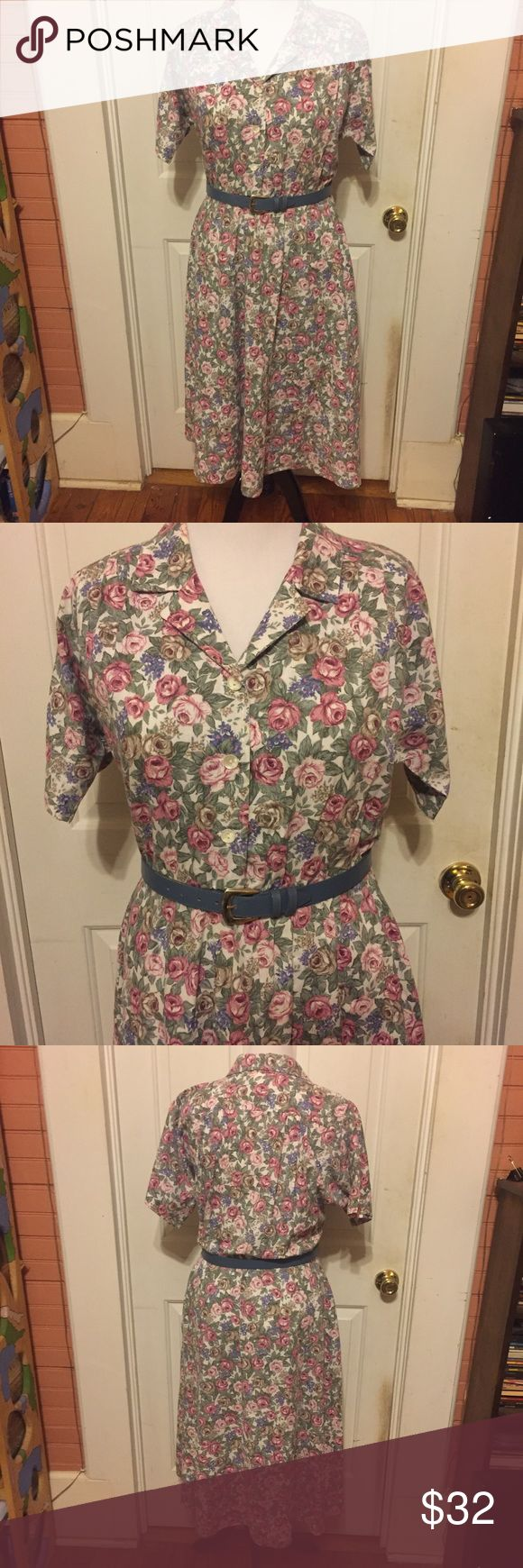 Pastel Floral Vintage Short Sleeve Dress Size XL Adorable Unique Pastel Floral Vintage Short Sleeve Dress WITH POCKETS! Made by Stuart Alan. Most likely 80's. The tag has faded, but it fits my 12-14 model like a champ so I would size it as a 12/14 or XL. Let me know if you need measurements. The waist is elastic. Could be paired with so many cute belts. Super comfy material most likely Cotton. Pretty detailing on the bust as well. See comments for more info. Vintage Dresses Maxi