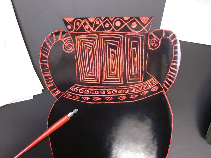 scratch art greek vases prior to making paper mache vases