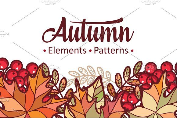 Autumn leaves. Patterns. Bundle by Zoya Miller on @creativemarket