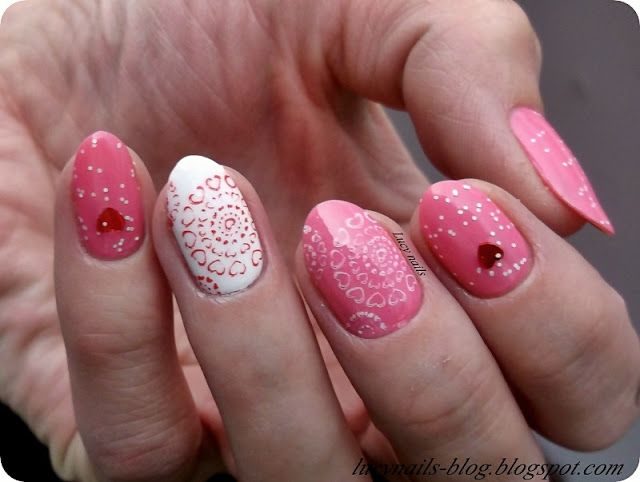 SENSIQUE Art Nails nr 329 Pink Verigo  i MY SECRET Nail Art nr 271 Red Heart