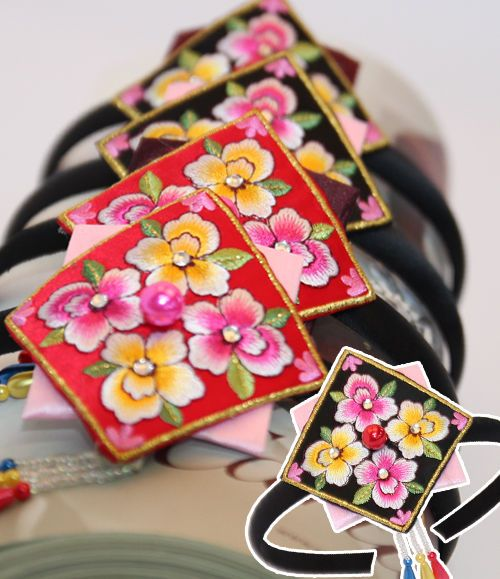 Korean traditional clothes HANBOK SQUARE Hairband daenggi pigtail dress girl #FairyCloset #Hanbokhairband