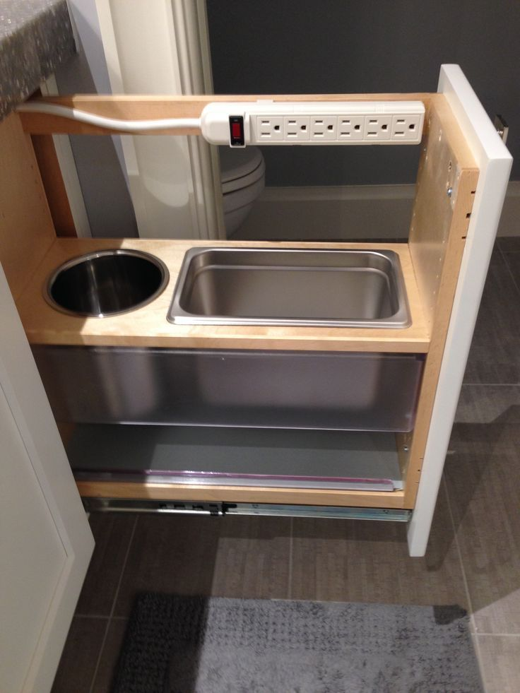 bathroom vanities with pullouts | Master Bathroom vanity pull-out feature
