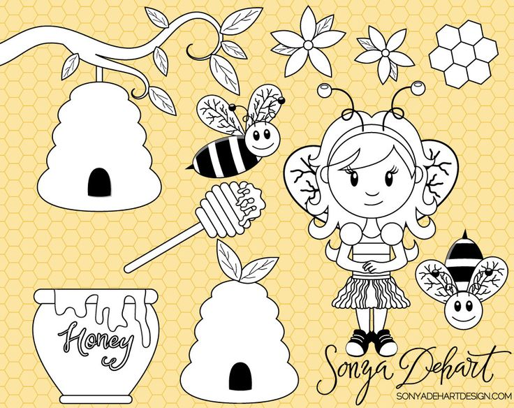80% OFF SALE Digital Stamp, Bee Clipart, Bee Clip Art, Honey Clipart, Girl Clip Art, Honeycomb Clipart, CA206 by SonyaDeHartDesign on Etsy https://www.etsy.com/uk/listing/223217656/80-off-sale-digital-stamp-bee-clipart