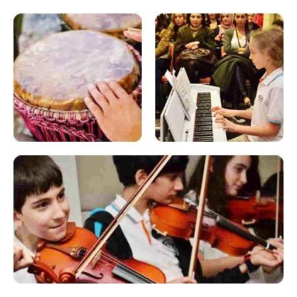 Okulumuz, her yıl sanat eğitimi üzerine birçok yenilikçi ve geliştirici çalışmaya yer vermektedir. Müzik dersleri (PYP uyumlu Carll Off eğitim modeli), branş çalışmaları, orkestra çalışmaları, atölye ve kış sanat okulu çalışmaları bunların en başında gelen uygulamalarımızdandır. Okulumuzda 5, 6 ve 7. sınıf seviyelerinde haftada bir saat olan müzik dersimizde öğrencilerimiz, bir yıl boyunca seçmiş oldukları bir branşta eğitim almaktadırlar.
