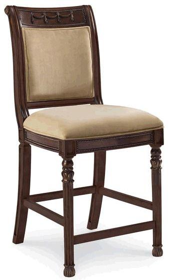 Барный стул в отделке хна с мягкой текстильной обивкой сидения и спинки. Высота сидения 56, ширина сидения 48 см., глубина 46 см.             Материал: Ткань, Дерево.              Бренд: Schnadig.              Стили: Классика и неоклассика.              Цвета: Бежевый, Темно-коричневый.