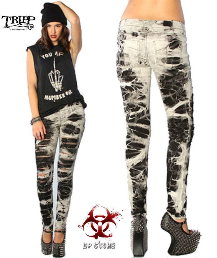 Tripp Skinny Jeans Bleach Camo Rockabilly Punk Emo Goth Tattoo Moto Pants Jj9671