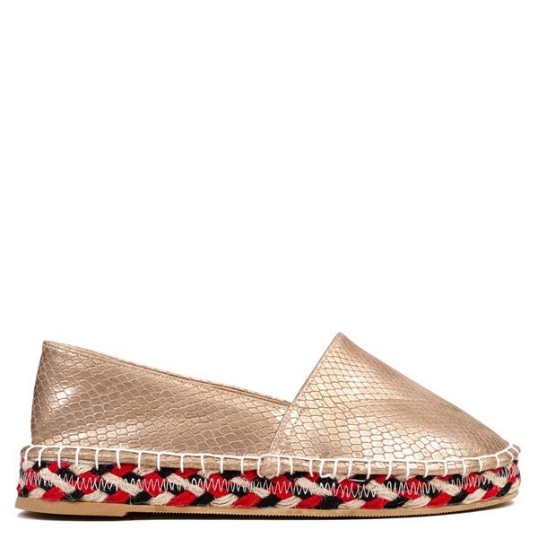 Bronze metallic espadrille with snakeskin embossed motif. Features colorful decorative rope at sole.