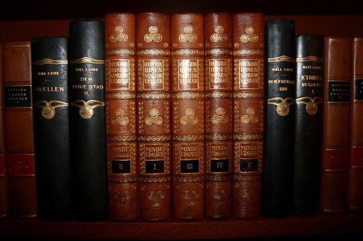 23 Beautiful Antique Leather Bound Books Gold Decor Henrik Ibsen Works | eBay