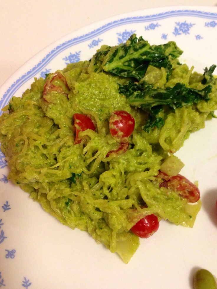 pesto (made with almonds) on baked spaghetti squash with tomatoes ...