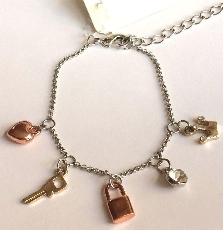 "Silver Gold Plated Key Lock Heart Crown Charm Bracelet Victorian 6-8"" Dainty USA #Ciel"