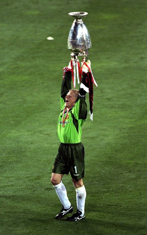 Peter Schmeichel celebrates in his last game for Manchester United.
