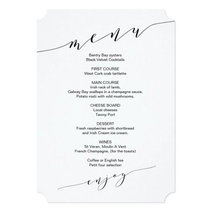 Minimalist Wedding Menu With Welcome Message Zazzlecom