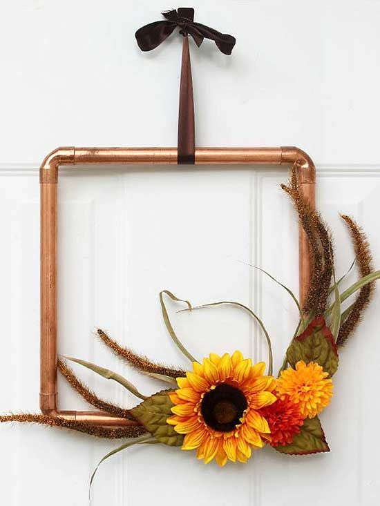 Hit the hardware store and fashion up some copper pipe and corner fittings for an industrial take on fall.