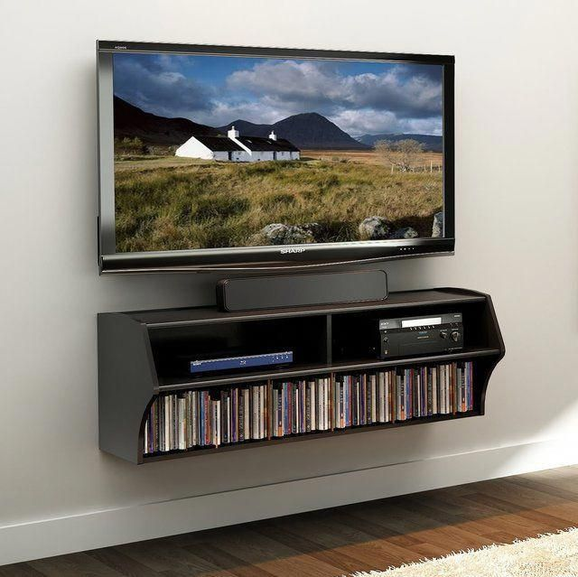 fancy black wall mounted av console tvwallmountideas tv rh pinterest com