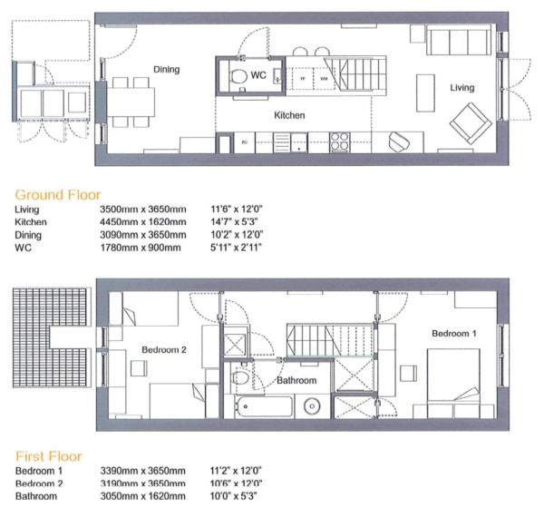 Floor plan for two bedroom terraced house by Proctor and Matthews