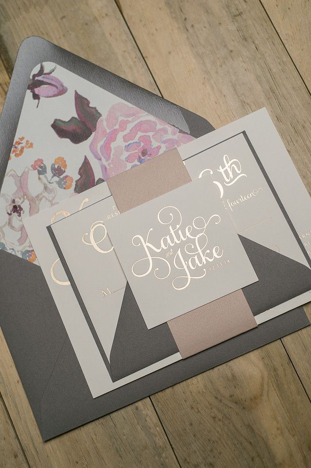 These subtle invitations introduce the metallic theme of your wedding with soft, rose gold detailing