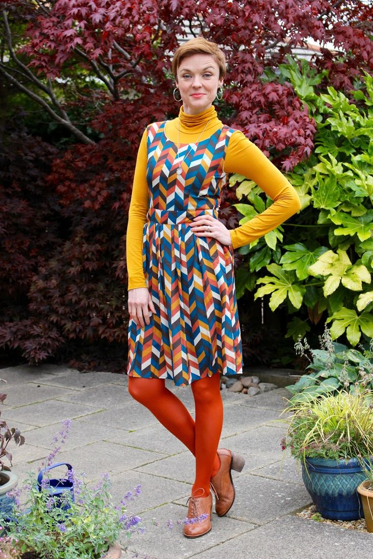 70's style | Polo necks, chunky heels and coloured tights. by @samantha4blair