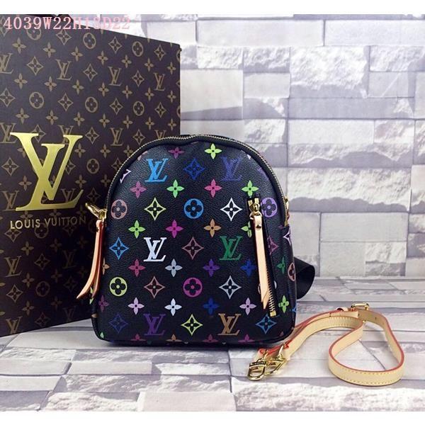 Louis vuitton LV Handbags 1:1 quality Black Monogram Multicolore canvas and Leather, Size W22H13D22CM Replica Bags