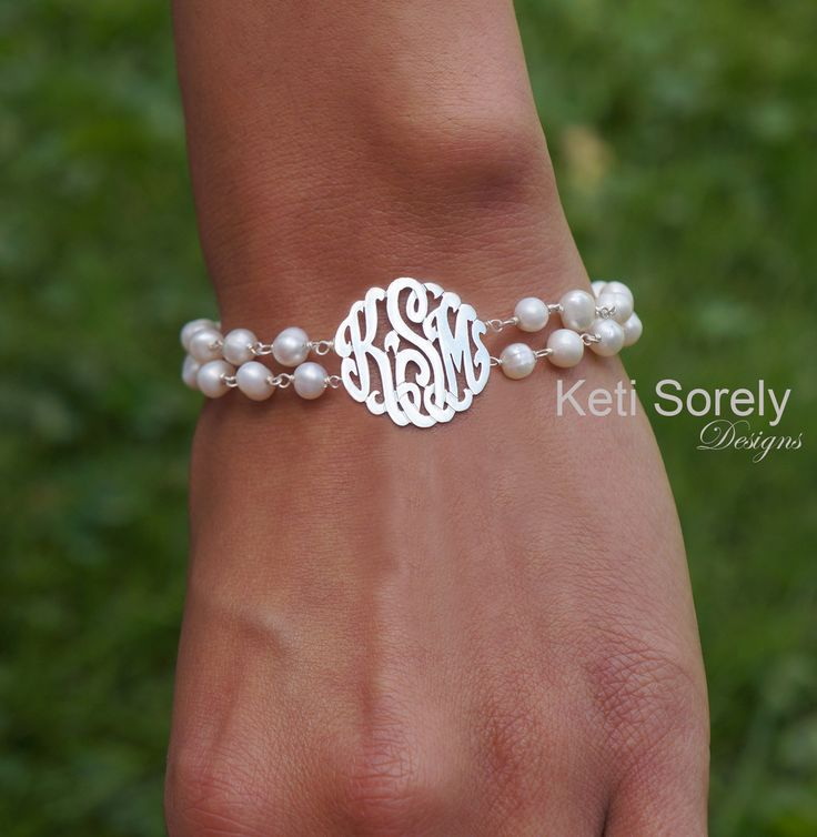 Keti Sorely Designs - Double String Fresh Water Bracelet with Monogrammed Initials - Sterling Silver, $73.00 (http://www.ketisorelydesigns.com/double-string-fresh-water-bracelet-with-monogrammed-initials-sterling-silver/)