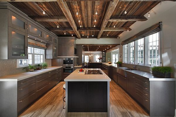 Like: ceiling & floor rustic -- like a farmhouse; counters & cupboards modern. nice mix. Very light with windows along 3 sides. Perhaps too industrial looking? Cabinets disappear with matching wall.