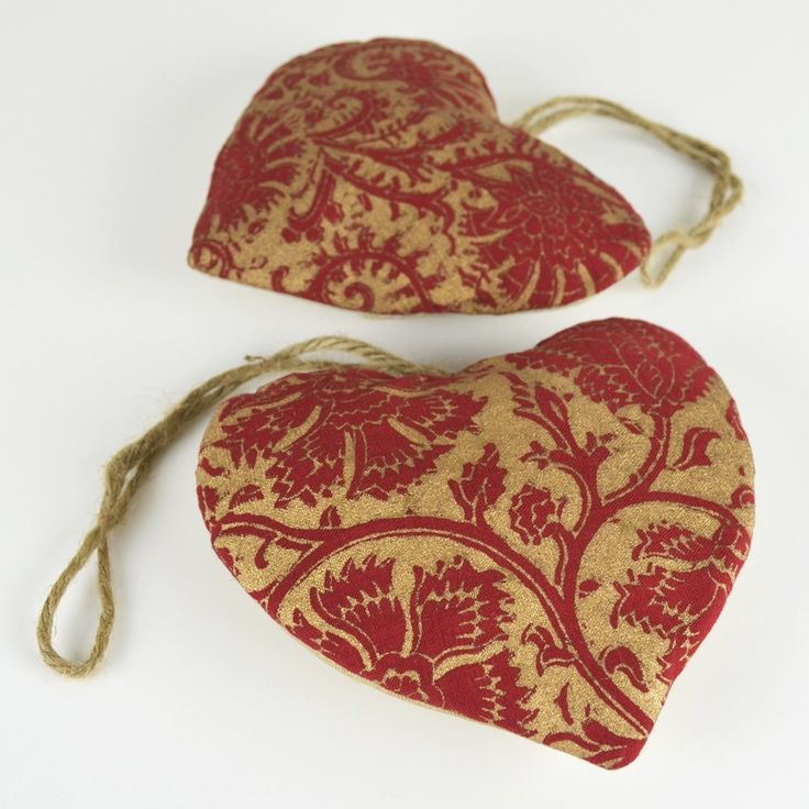 """HEART GOLD FLORAL HANGING DECORATIONS - I just made these out of some of my block prints that I did some time back, I think they can be used any time of the year, not only during Christmas...don't you think, look under our """"Christmas sale"""" section at www.shakiraaz.com.au"""