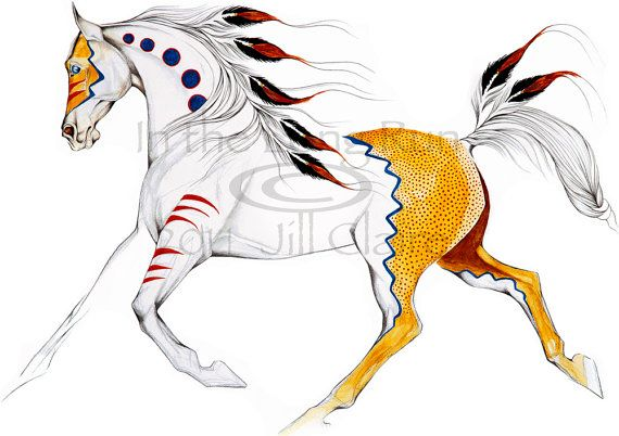 White Native Eagle Feather War Horse Painting by JillClaireArt, $28.00