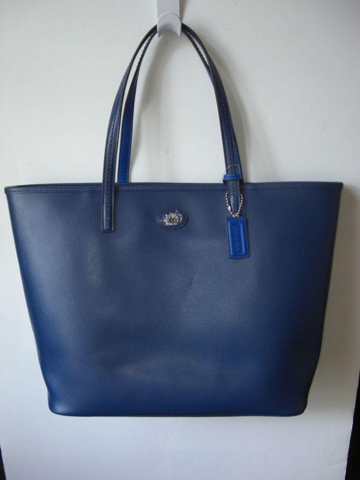 Coach 32701 Large Metro Saffiano Leather Brilliant Blue Shopper Tote NWT $248 #Coach #TotesShoppers