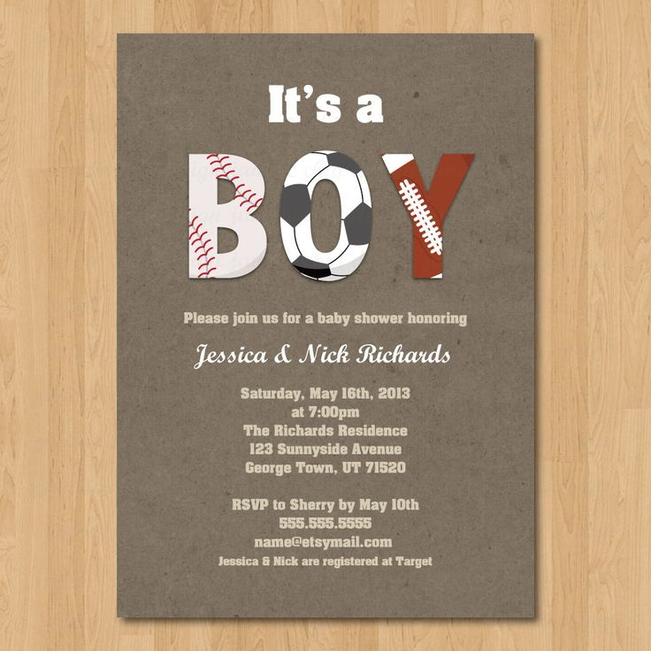 clever baby shower invitation wording%0A Sports Boy Baby Shower Invitation Digital Printable or Printed  ANY color  ANY wording