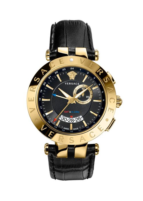 Versace V-RACE GMT ALARM black and gold for Men | Official Website. V-Race Gmt Alarm Black And Gold by Versace for Men's Watches. Designed for business men who want a functional watch without losing style, V-RACE GMT ALARM is both technical and full of class.