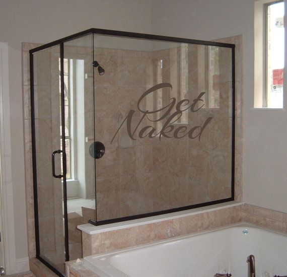 Bathroom get naked wall decal sticker glass shower enclosuresglass