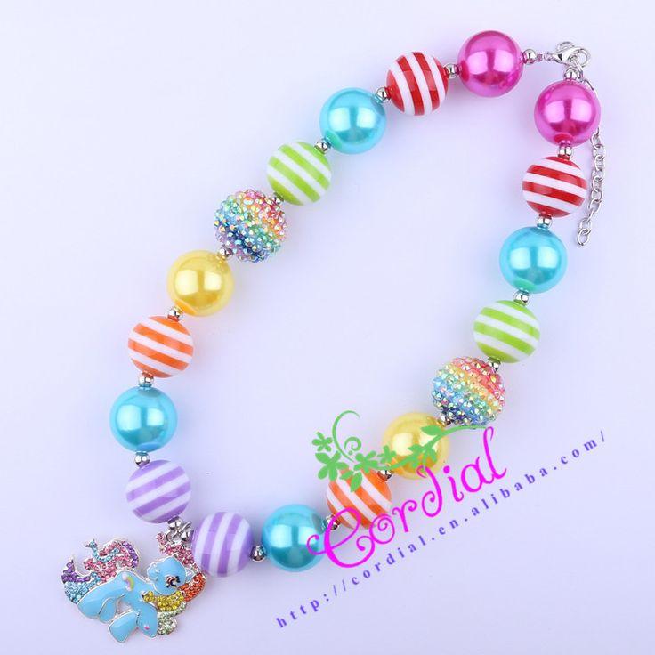 Free Shipping 2Pcs/Lot Kids Chunky Bubblegum Necklace Rainbow Dash Necklace Horse Necklace Handmade Bead Jewelry # CDNL-410569