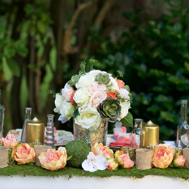 wedding centerpieces fake flowers%0A Silk Flowers Peony Wedding Bouquet in Peach Coral     in  Tall