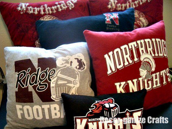 Pillows from old t-shirts, good decor for football/basketball season ;)