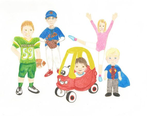 Family Caricature Kids Cartoon Hand Drawn From your Photo