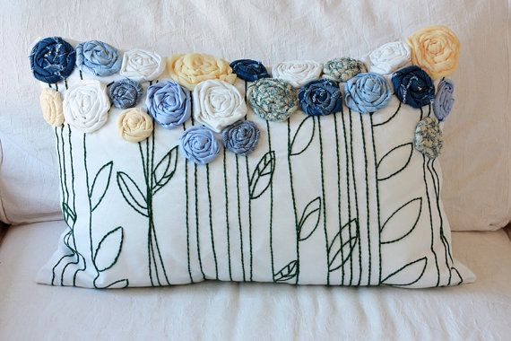Memory Pillow  Embroidered Pillow with Rosette by TwoElephantsShop, $60.00