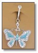 Light Aqua Blue Butterfly Fake Belly Piercing