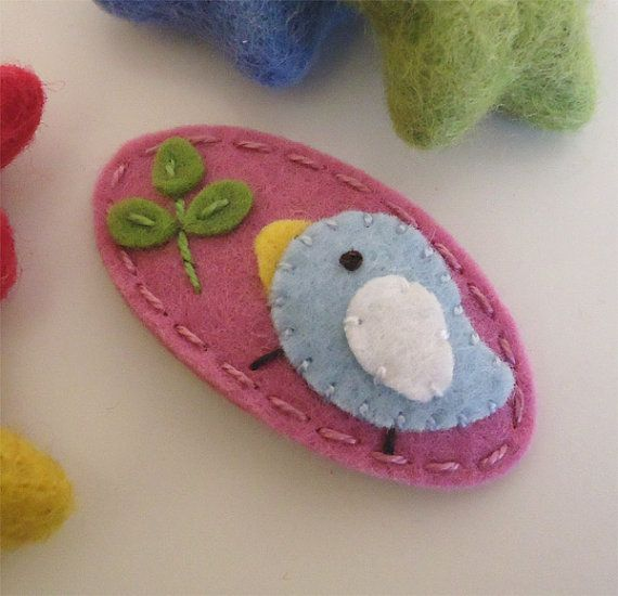 NO SLIP Wool felt hair clip -Pale blue bird and a sprout -mini -old pink on Etsy, $7.00
