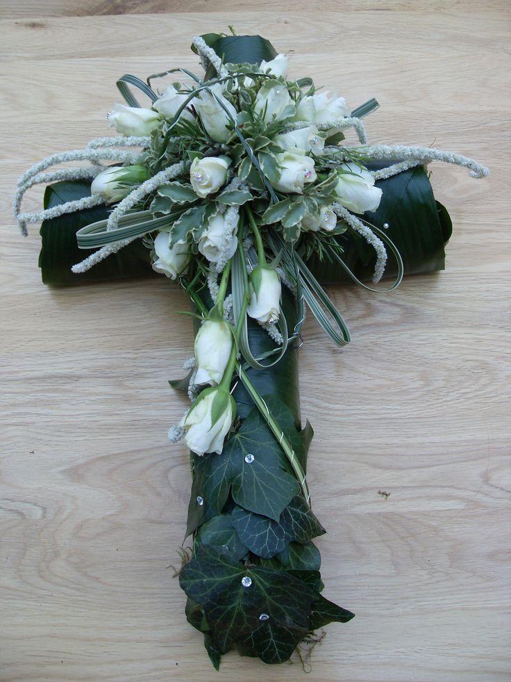 Funeral cross using Amaranthus by Karen Innis