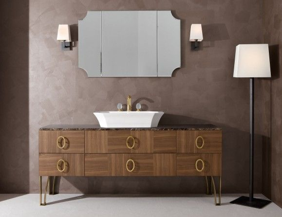 Daphne D6 High End Italian Bathroom Vanity In Walnut Wood And Marble Vanity Units Pinterest